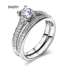 SINZRY jewelry New Cubic zirconia round 2 in 1 engagement love rings for women Luxury jewelry accessory