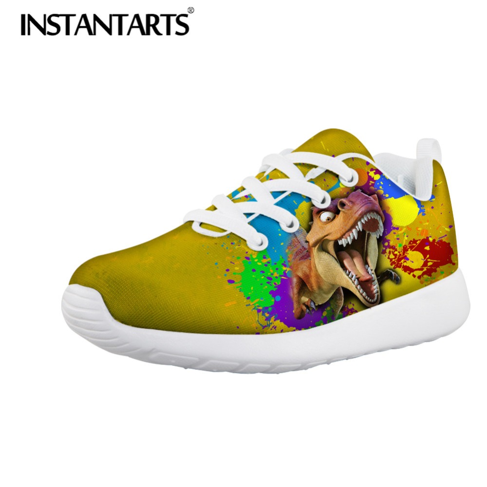 INSTARTANTS Cool 3D Galaxy Animal Dinosaur Print Chilren Kindergarten Kids High Top Canvas Shoe Outside Lace Up Sneakers for Boy eyelet lace botanical print top