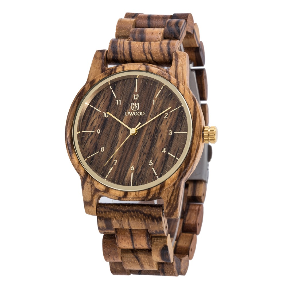 2018 Hot Sell Men Dress Watch UWOOD Men`s Wooden WristWatch Quartz Wood Watch Men Natural Wood Watches For Men Women Best Gifts
