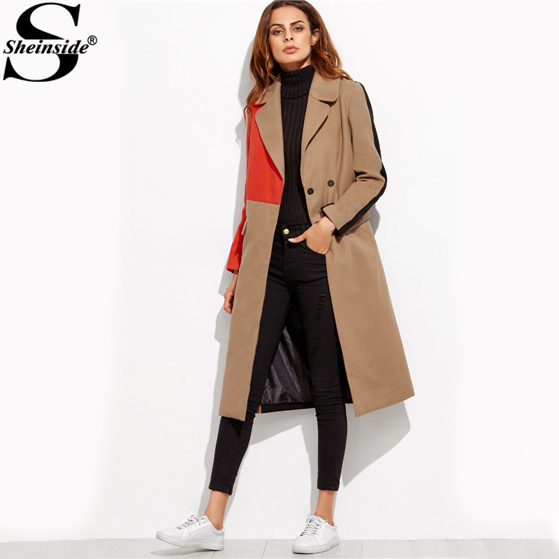 Sheinside Patchwork Double Breasted Coats Women Camel Long Sleeve Color Block Casual Long Outer Winter Work