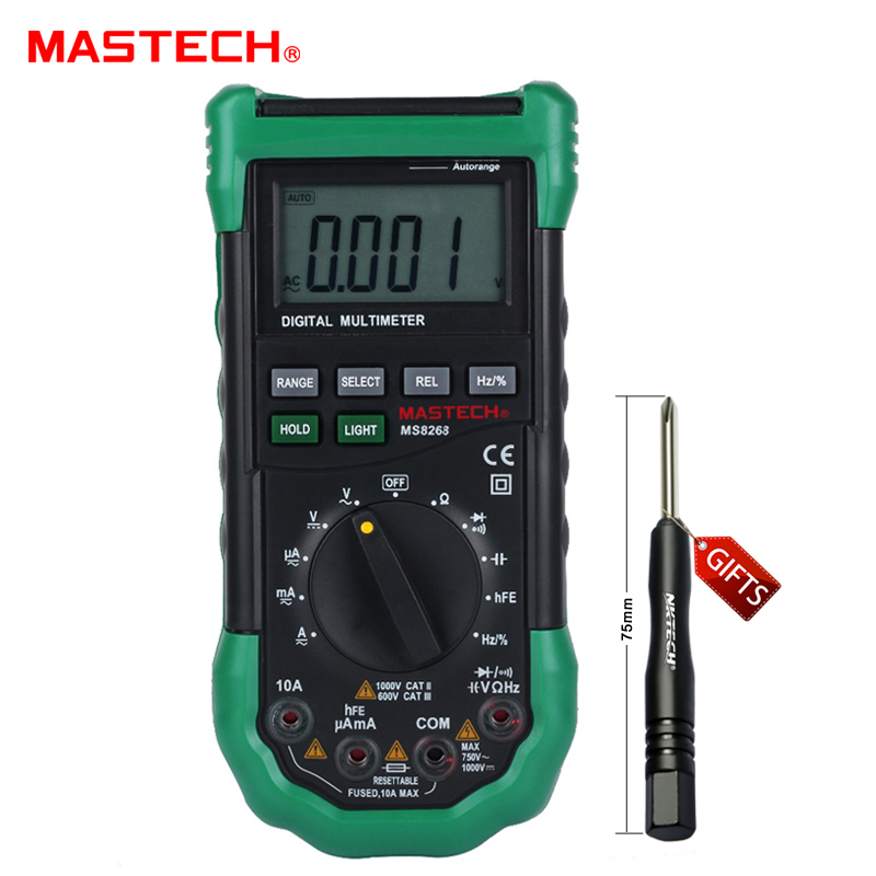 MASTECH MS8268 Auto Range Digital Multimeter Full protection ac/dc ammeter voltmeter ohm Frequency electrical tester lcd range auto digital pocket voltmeter multimeter tester tool ac dc xb 866 mini