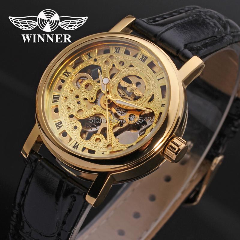 Prix pour Gagnant Montre Mécanique Main-vent De Mode de Femmes Casual Bracelet En Cuir Analogique Cristal Marque Montre-Bracelet Couleur Or WRL8005M3G1