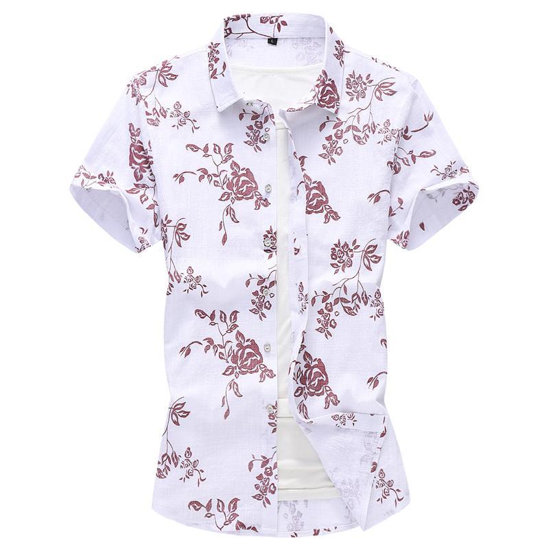 Hawaiian Shirt Mens Floral Blouse Men Casual Cotton linen Flower Dress Shirts Red blue Summer