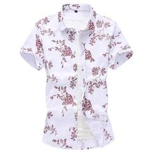 Hawaiian Shirt Mens Floral Blouse Men Casual Cotton linen Flower Dress Shirts Red blue Summer