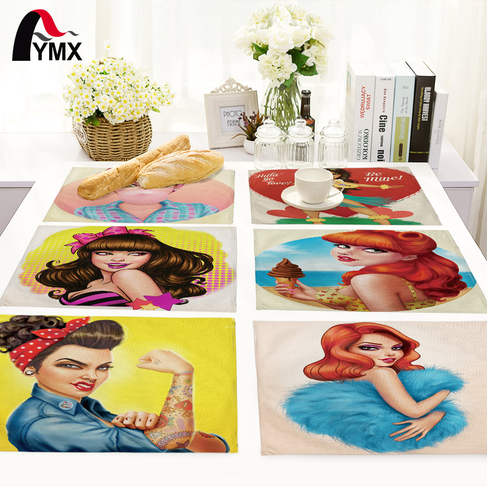 American Style Cartoon Girl Pattern Table Mat Table Napkin For Wedding Home Kitchen Decoration Dinner Tea Coffee Table Pads