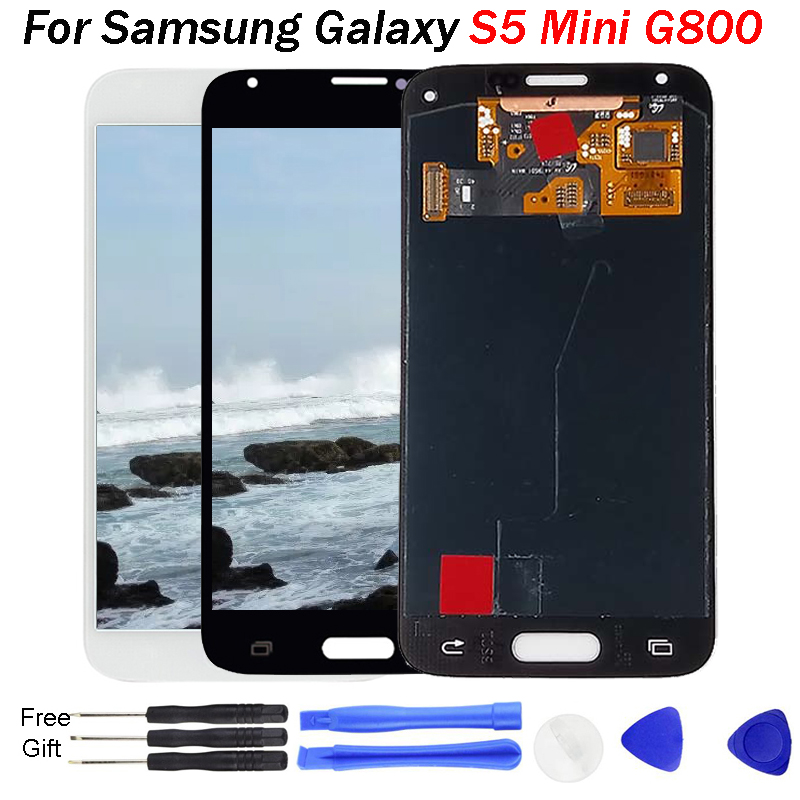 Replacement <font><b>Super</b></font> <font><b>AMOLED</b></font> LCD For <font><b>Samsung</b></font> Galaxy <font><b>S5</b></font> Mini G800 G800F G800H LCD <font><b>Display</b></font> Screen Touch Digitizer Assembly <font><b>S5</b></font> MINI LCD image