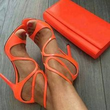 Lady Sandals Gladiator Neon Buckle Heel Covering Open Toe Stiletto Heels Women Orange Sandals Women Sexy Party Shoes Peep Toe women sandals elastic band heel covering stiletto heels shoes women peep toe fringe sandals party shoes 2019 new design