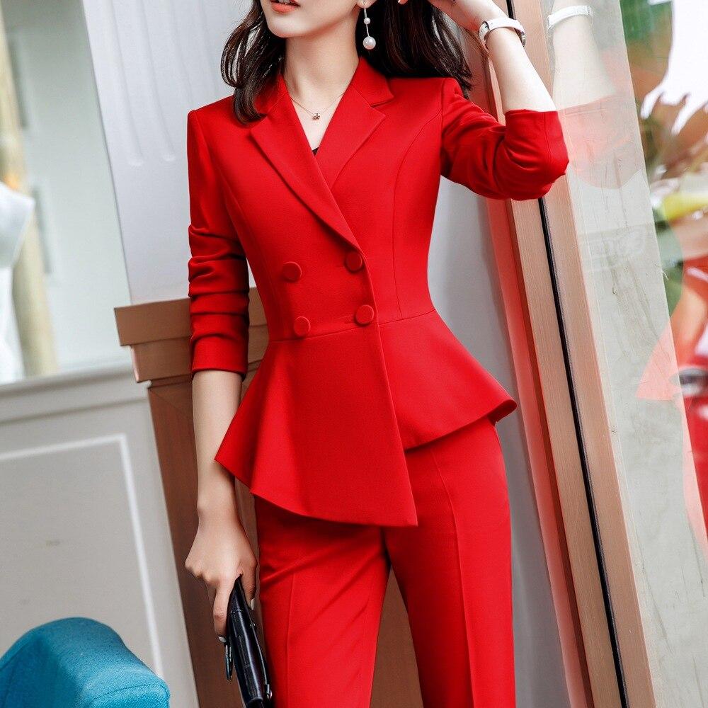 Pant Suit Office Clothes 4XL Plus Size 2 Piece Set Blazer Jacket Trousers Costume Interview Host Business Lady Work Suit ow0519 52