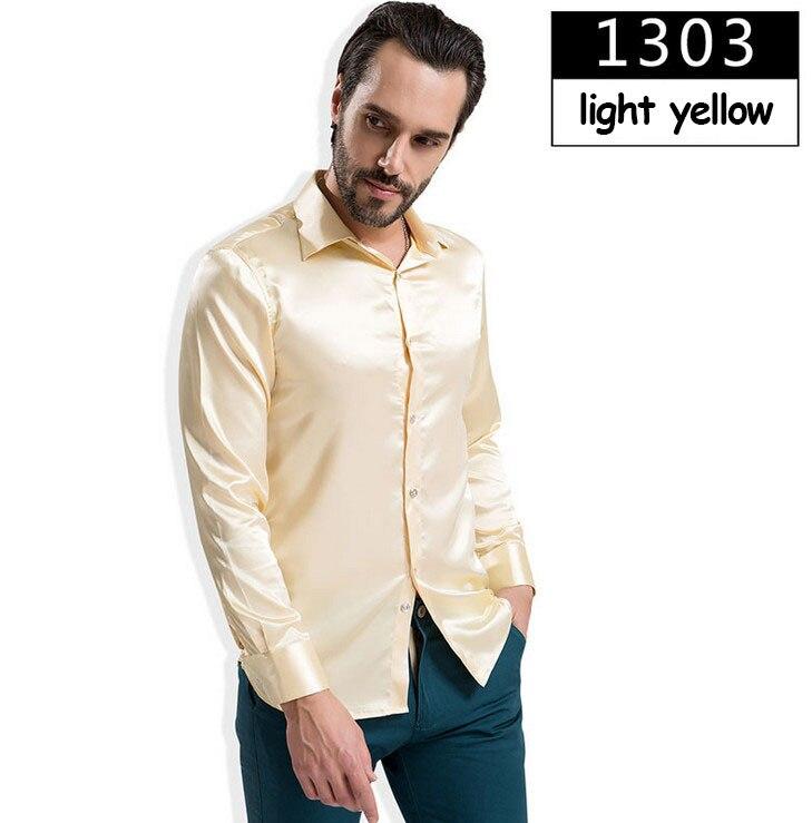 ZOEQO новая рубашка-смокинг для мужчин, 12 цветов, шелковое мужское однотонное платье с длинными рукавами, рубашка с запонками, мужские рубашки camisetas masculinas - Цвет: 1303 light yellow