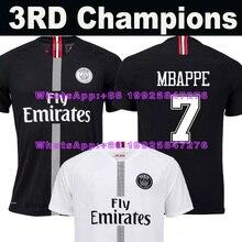 18 19 PSG Paris Terceiro 3RD MBAPPE saint germain campeões jérsei de futebol  preto branco 2018 2019 Maillot De Pé Futebol camisa. f653b449f752f