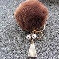 Pompom Keychain-Atacado 10 cm Imitação De Pele Pom Pom Bola Chaveiro Pendurado Saco Borla Pendente Ornamentos Sino Keychain Para mulheres