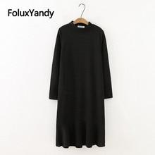 Long Sleeve Knitted Dress Plus Size XXXL 4XL Women O-neck Casual Ruffles Midi Trumpet Dress Vestidos Black SWM1292 цены