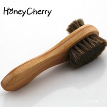 Double Horsehair shoes brush Long Handle Brush Wipe Leather Shoes Polishing Suede Soft Scrub 1 piece honeycherry