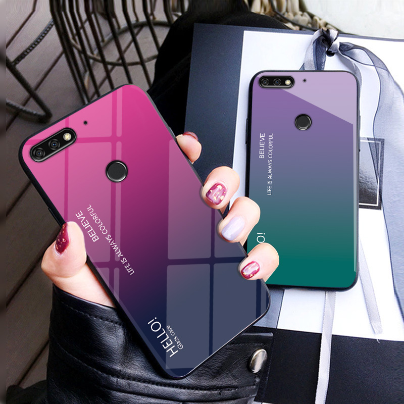 quality design 27cfb e419b For Huawei Y7 Prime 2018 Case Luxury Hard Tempered Glass Gradient Protect  Back Cover case For huawei y7prime 2018 phone shell