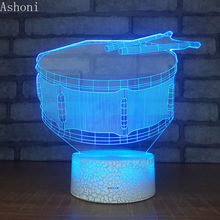 3D Drum Shape Lamp Bedroom Table Lamps Night Light Acrylic Panel USB Cable 7 Colors Change Touch Base Lamp Kids Gift недорого
