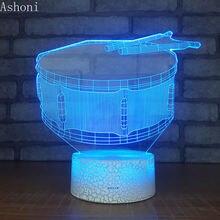 3d лампа в форме барабана настольные лампы для спальни светильник