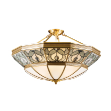 цена на Copper pendant light Tiffany glass shade E27 5W lamp AC220V American rustic fashion bedroom lights restaurant lamp Kung light