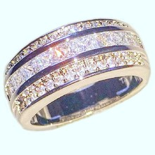Size 7,8,9,10,11,12 Fashion Jewelry 10KT Gold filled Princess-cut CZ Side Stone finger Rings set Wedding Band Ring for Women Men