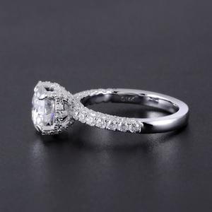 Image 3 - Transgems 14 585 ホワイトゴールドメイン 1.5ct 7.5 ミリメートル F カラーラウンドハロー下モアッサナイトの婚約指輪