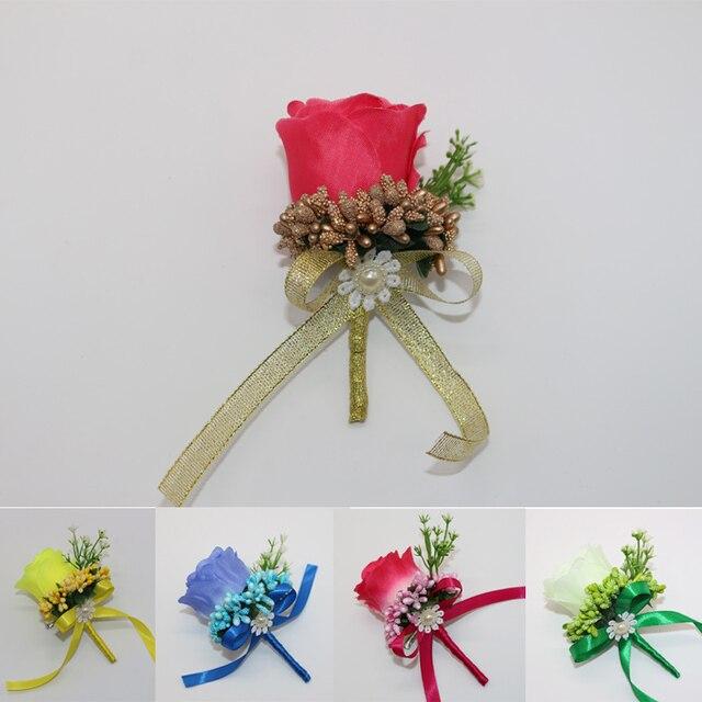 Best Man Groom Boutonniere Silk Satin Rose Flower men buttonhole ...