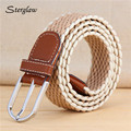 2017 men's woven elastic belt canvas wide belt male cinturones hombre elastico women's striped braided belt heren riem U005