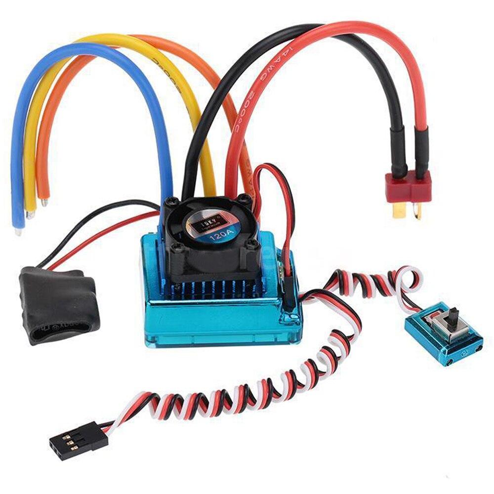 120A Sensored Brushless Speed Controller ESC pour RC 1/8 1/10 1/12 Voiture Sur Chenilles