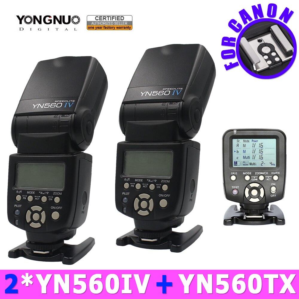 2 pc yongnuo yn560iv 560iv speedlite flash + yn560-tx sans fil flash contrôleur pour canon dslr caméras 5d 60d 6d 7d 60d 5D3