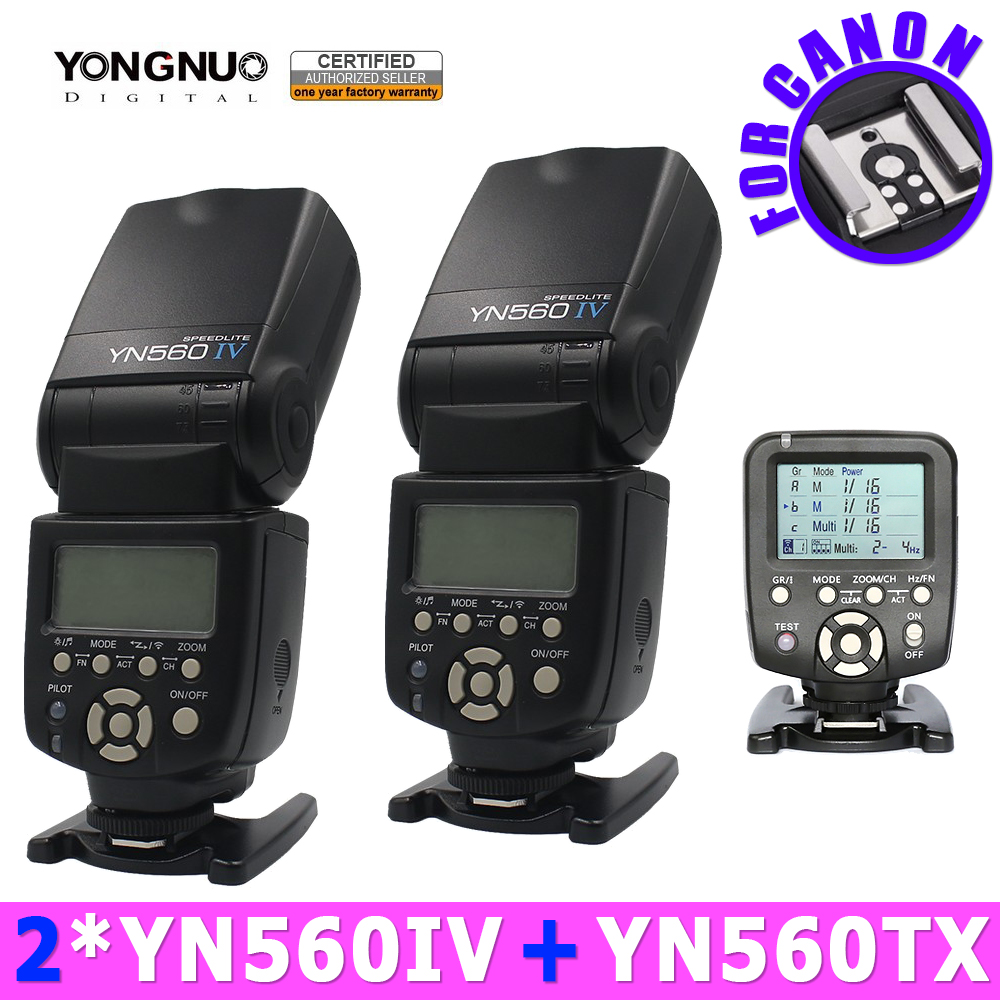 2pc Yongnuo YN560IV 560IV Speedlite Speedlight + YN560-TX Wireless Flash Controller for Canon DSLR Cameras 5D 60D 6D 7D 60D 5D3 yongnuo yn600ex rt ii 2 4g wireless hss 1 8000s master ttl flash speedlite or yn e3 rt controller for canon 5d3 5d2 7d 6d 70d