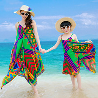 New Summer Mom And Daughter Dress Fashion Family Clothing Geometric Print Beach Dress Sleeveless Dress Family