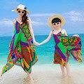 Nuevo verano clothing madre e hija familia de la manera vestido estampado geométrico vestido de la playa vestido sin mangas trajes a juego de la familia