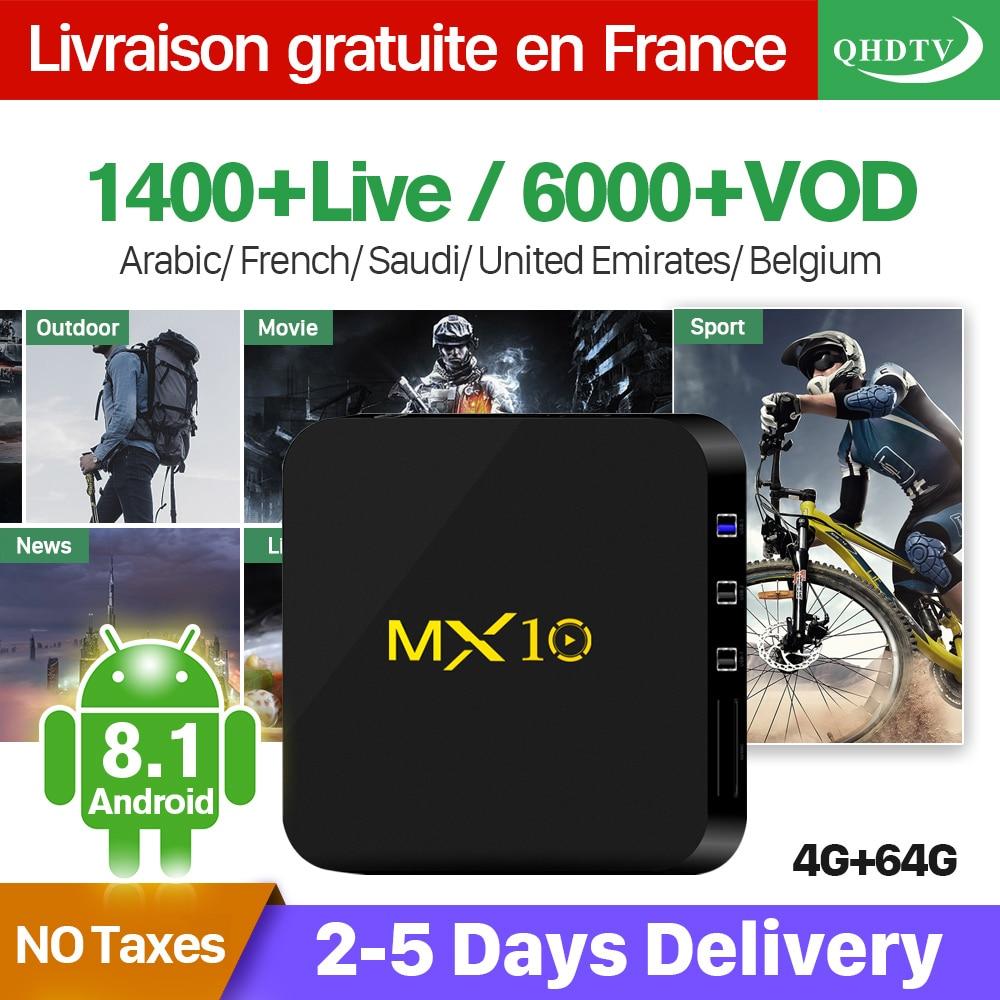 IPTV France Box MX10 Android 8.1 RK3328 1 il QHDTV IUDTV SUBTV kodu - Evdə audio və video - Fotoqrafiya 3