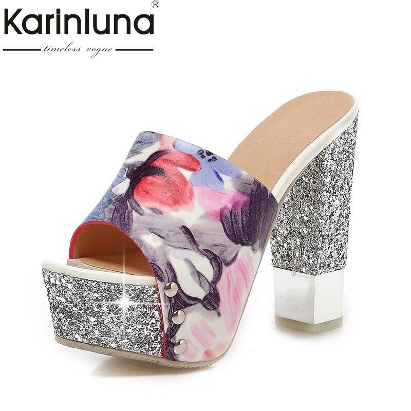 Фотография KarinLuna Plus Size 32-43 Peep Toe Square 13.5cm Heels Women Shoes Pumps Woman Sexy Platform Wedding Bride Mules Shoes Woman