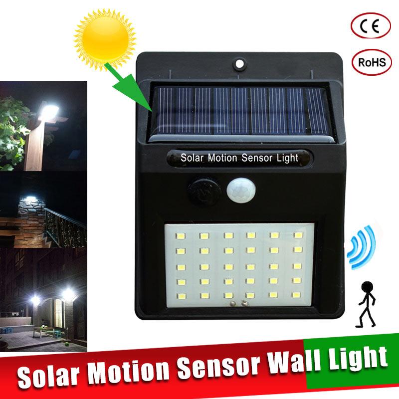 LED Solar Power PIR Motion Sensor Wall Light 16/20/25/30 LEDs Outdoor Waterproof Energy Saving Street Garden Security Lamp