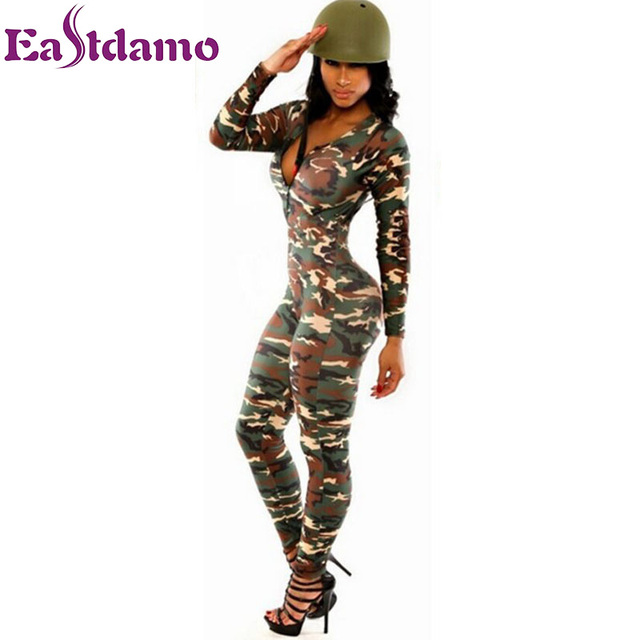 7aaa7508f073b Long Sleeve Rompers Womens Jumpsuit Army Soldier Catsuit Camouflage Bodycon  Jumpsuit Plus Size Jumpsuits And Rompers Bodysuit