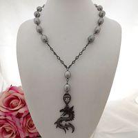 GE093002 20 Gray Rice Pearl Cz Chain Necklace Dragon Pendant