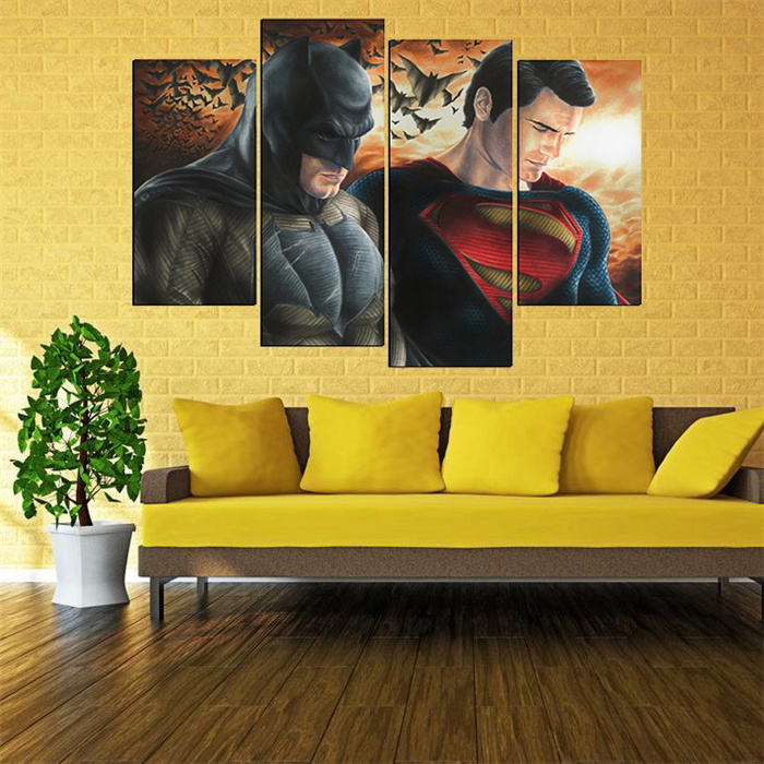 4 Panels Movie Batmen Superman paintings on canvas Wall Pictures For ...