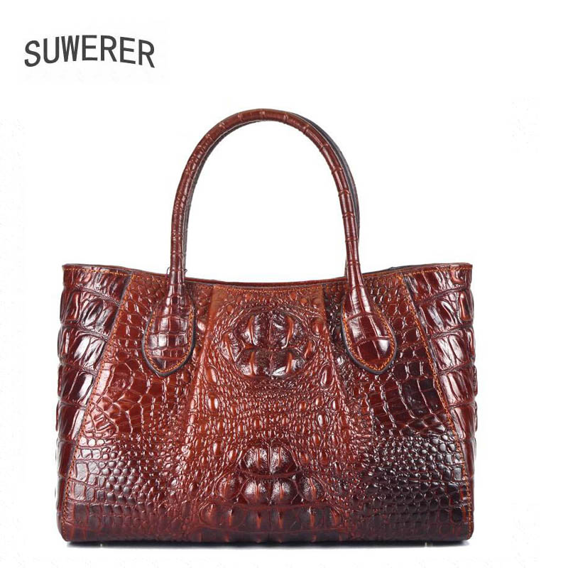 SUWERER  2019 new ladies leather shoulder messenger bag Premium Leather Luxury Crocodile Womens Tote Designer bagsSUWERER  2019 new ladies leather shoulder messenger bag Premium Leather Luxury Crocodile Womens Tote Designer bags