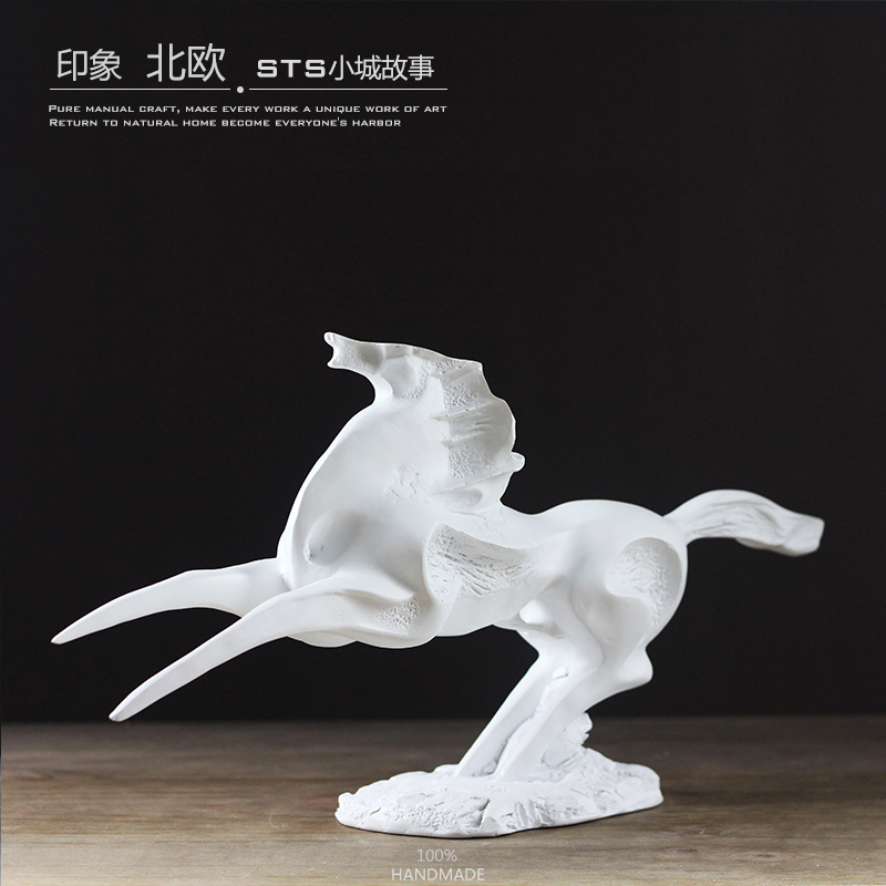 Creative resin war horse statue home decor crafts room decoration objects vintage ornament animal figurines