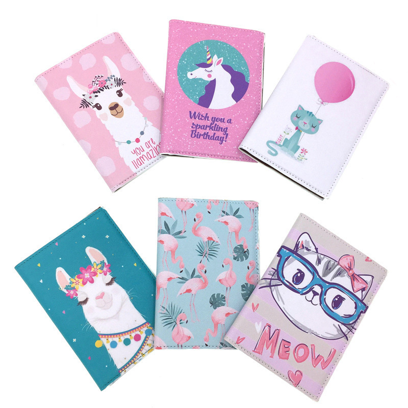 Lovely Unicorn Alpaca Flamingo Travel Passport Holder Waterproof Credit Card Wallet Passport Cover Business Card Case Passport