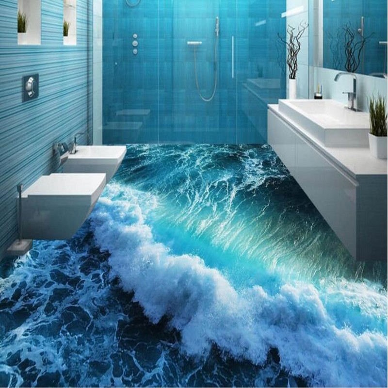 Beibehang Custom Personality 3d Summer Waves To Paint The