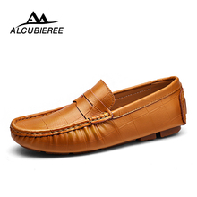 Купить с кэшбэком 2018 New Men Casual Driving Shoes Leather Loafers Men Shoes New Men Loafers Luxury Flats Shoes Male Chaussure Big Size