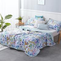 Cotton Plant Printed Pattern Coverlets Quilted Five layer Sewing Process Technics Bedspread For Home Travel Machine Washing