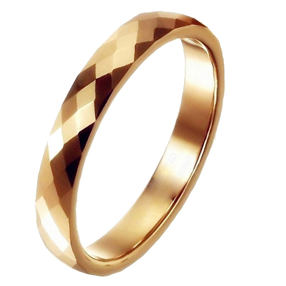 3mm Tungsten Ring gold breit Multi Faceted Prism Cut Wedding Band With Wedding Ring Box
