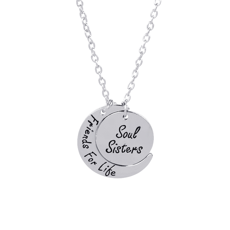 Soul sisters friends For life BFF Necklaces Round Curved moon Statement Necklace Christmas Gift For sister Bestfriend Jewelry in Pendant Necklaces from Jewelry Accessories
