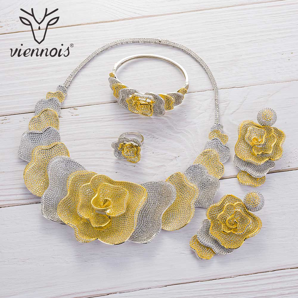 Viennois Gold Silver Mixed Color Necklace Set For Women Flower Dangle Earrings Ring Bracelet Set Party