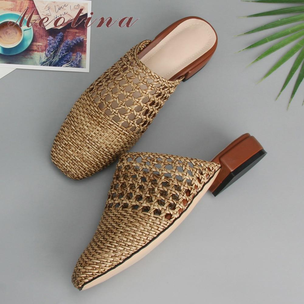 Meotina รองเท้าแตะรองเท้าแตะฤดูร้อนรองเท้า Glitter Cutout รองเท้าแตะแฟชั่นสแควร์ Toe ส้นสูงรองเท้าเลดี้เงินขนาดใหญ่ 33  43-ใน รองเท้าใส่ในบ้าน จาก รองเท้า บน AliExpress - 11.11_สิบเอ็ด สิบเอ็ดวันคนโสด 1