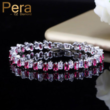 Pera Trendy Summe Party Silver Color Jewelry For Women Big Rectangle Baguette Rose Red Cubic Zirconia Stone Paved Bracelets B116