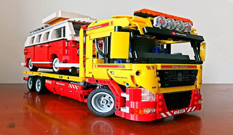 Classic technic technican Vehicle Heavy Flatbed trailer truck building block model with motor lepine bricks figures electric toy technican technic 2 4ghz radio remote control flatbed trailer moc building block truck model brick educational rc toy with light