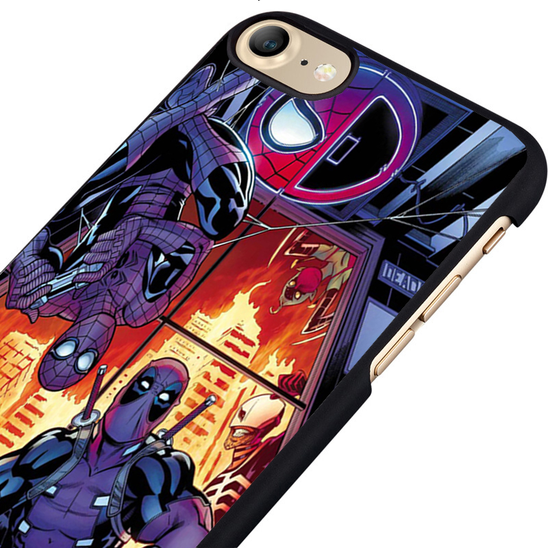 LvheCn phone case cover fit for iPhone 4 4s 5 5s 5c SE 6 6s 7 8 plus X ipod touch 4 5 6 Deadpool Spiderman Cool Marvel DC Art