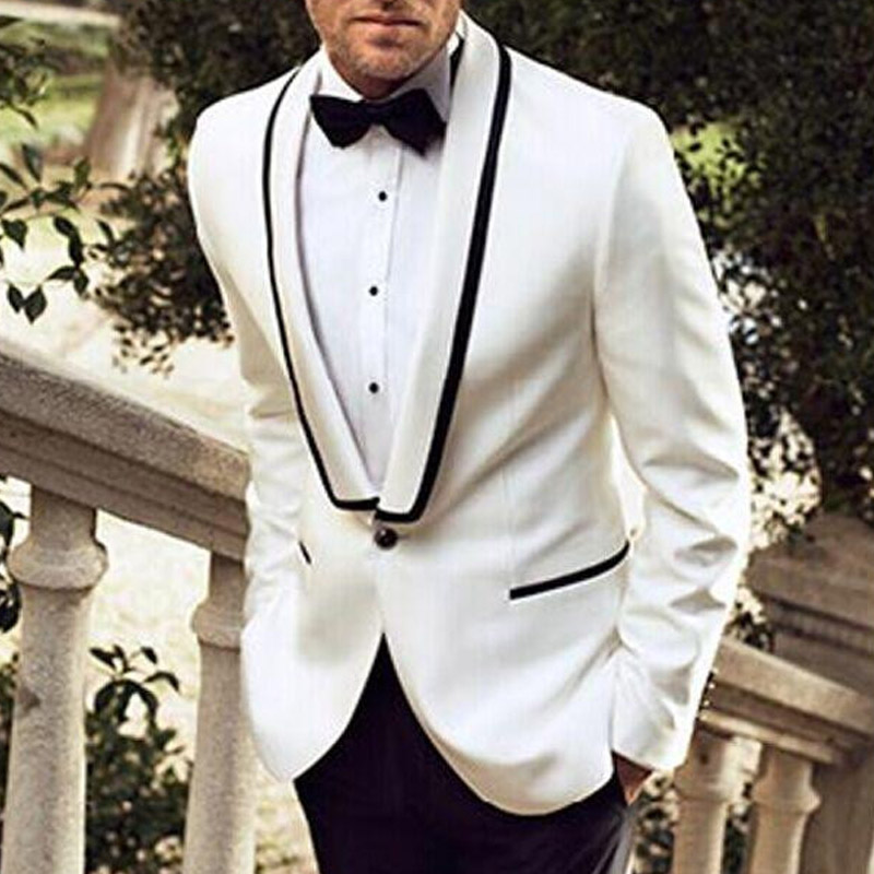 2018 White and Black Wedding Groomsmen Tuxedos Shawl Lapel Custom Made Two Piece Business Men Suits Jacket Pants in Suits from Men 39 s Clothing